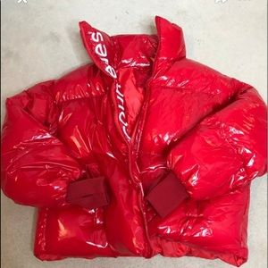 New glossy red puffer bomber